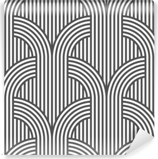 Black and white geometric striped seamless pattern - variation 5 Vinyl Wall Mural