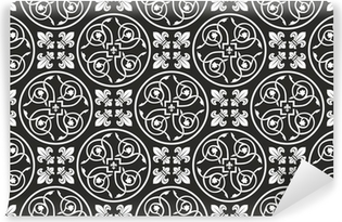 Seamless black and white gothic floral vector texture border Wall