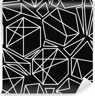 Black and white vector geometric seamless pattern Vinyl Wall Mural