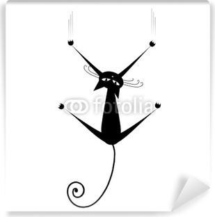 Black cat silhouette for your design Vinyl Wall Mural