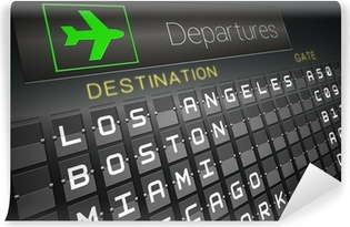 Black departures board for american cities Vinyl Wall Mural