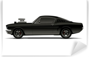 black muscle car with supercharger Vinyl Wall Mural