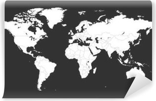blank white political world map isolated on black background worldmap vector template for website