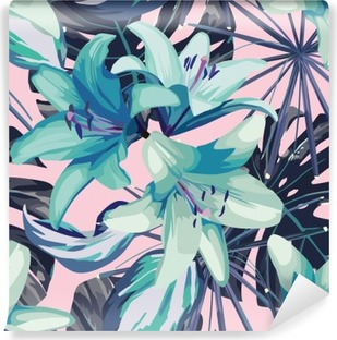 blue lily and leaves seamless background Vinyl Wall Mural