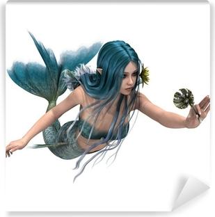 Blue Mermaid holding Sea Lily Vinyl Wall Mural