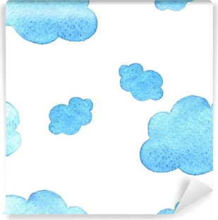 Blue watercolor clouds background. pattern. on white baground. Vinyl Wall Mural