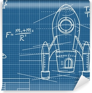 Blueprint of the spaceship and its flight path wall mural pixers blueprint with spaceship and planets vinyl wall mural malvernweather Image collections