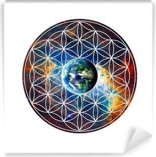 Blume des Lebens - Erde - Heilige Geometrie Vinyl Wall Mural