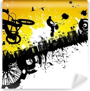 BMX riders in a city background Vinyl Wall Mural