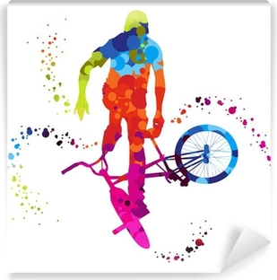 bmx with colored dots Vinyl Wall Mural