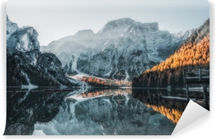 Boats on the Lake in the Dolomite Mountains Vinyl Wall Mural