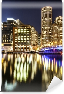 Boston Harbor and Financial District at Night Vinyl Wall Mural