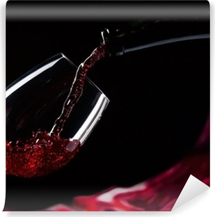 bottle and glass with red wine Vinyl Wall Mural
