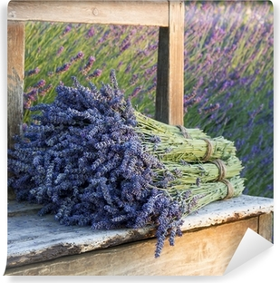 Bouquets on lavenders on a old bench Vinyl Wall Mural