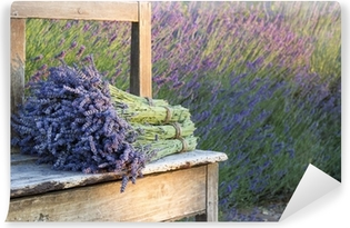 Bouquets on lavenders on a wooden old bench Vinyl Wall Mural