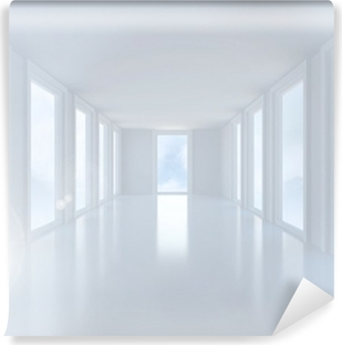 Bright white hall with windows Vinyl Wall Mural