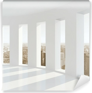 Bright white room with windows Vinyl Wall Mural