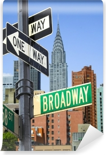 Broadway sign in front of New York City skyline Vinyl Wall Mural