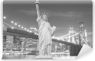 Brooklyn Bridge and The Statue of Liberty at Night Vinyl Wall Mural