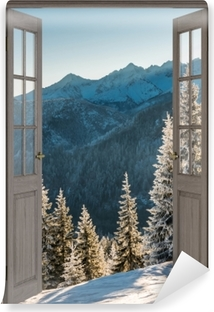 Brown door - Tatry Vinyl Wall Mural
