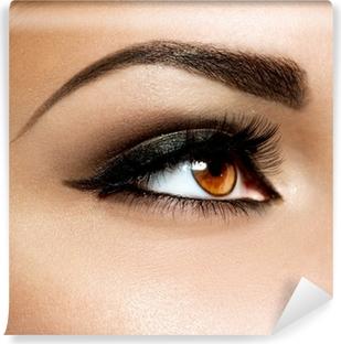 Brown Eye Makeup. Eyes Make-up Vinyl Wall Mural