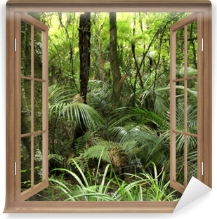 Brown opened the window - Tropical forest Vinyl Wall Mural