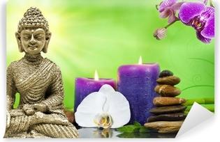 Buddha Mi Orchidee Violett Mit Bambus Und Kerzen Und Steinen Canvas