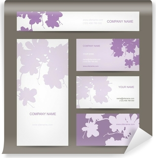 Set of abstract creative business cards zebra print design wall business cards collection floral design vinyl wall mural reheart Images