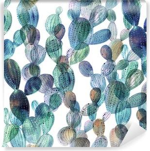 Cactus pattern in watercolor style. Vinyl Wall Mural