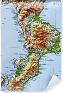 Cartina Geografica Della Calabria Fisica.Carta Geografica Della Calabria Wall Mural Pixers We