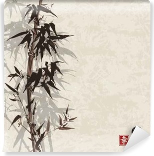 Card with bamboo on vintage background in sumi-e style. Hand-drawn with ink. Contains hieroglyph - happiness, luck Vinyl Wall Mural