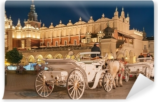 Carriages before the Sukiennice on The Main Market in Krakow Vinyl Wall Mural