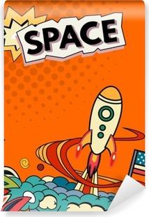 Cartoon vector illustration of space. Moon, planet, rocket, earth, cosmonaut, comet, universe Classification milky way Hand drawn Comics cosmos Vinyl Wall Mural