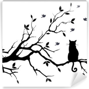 cat on a tree with birds, vector Vinyl Wall Mural