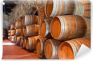 cellar with wine barrels Vinyl Wall Mural