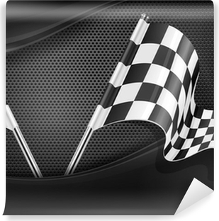 Checkered flags on mash background Vinyl Wall Mural