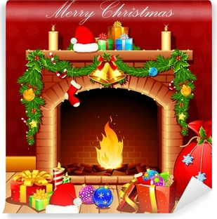 Christmas Fireplace Hearth and Stockings Landscape Wall Mural