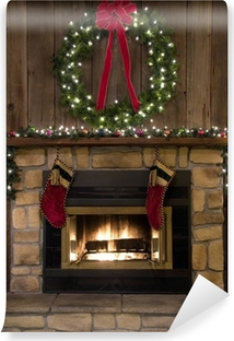 Christmas Fireplace Hearth with Wreath and Stockings Vinyl Wall Mural