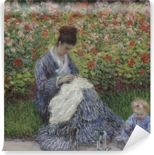 Claude Monet - Camille Monet with a Child in the Painter's Garden at Argenteuil Vinyl Wall Mural