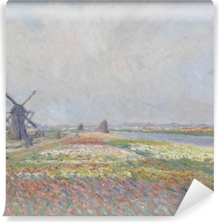 Claude Monet - Tulip Fields with the Rijnsburg Windmill Vinyl Wall Mural