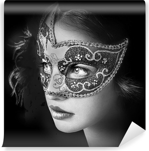 Close up portrait of woman in mysterious venetian mask Vinyl Wall Mural