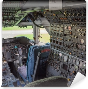 Center console and throttles in the airplane Wall Mural Pixers