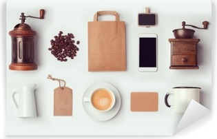 Coffee shop mock up template for branding identity design. View from above. Flat lay Vinyl Wall Mural
