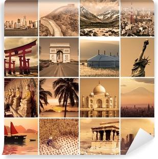 Collage voyage autour du monde Vinyl Wall Mural