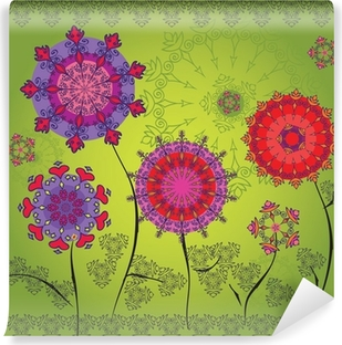 Colored mandala flowers on a green background Vinyl Wall Mural