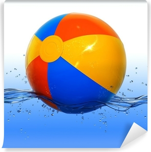 Colorful beach ball floating in water Vinyl Wall Mural