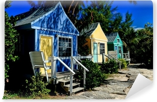 Colorful Beach Cottages Vinyl Wall Mural