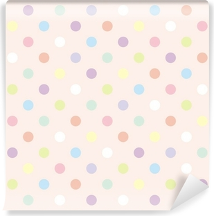 Colorful dots pink background retro seamless vector pattern Vinyl Wall Mural