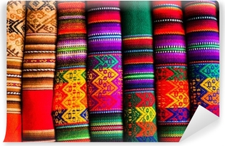Colorful Fabric at market in Peru, South America Vinyl Wall Mural