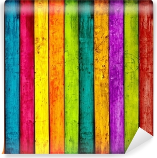 Colorful Wood Planks Background Vinyl Wall Mural